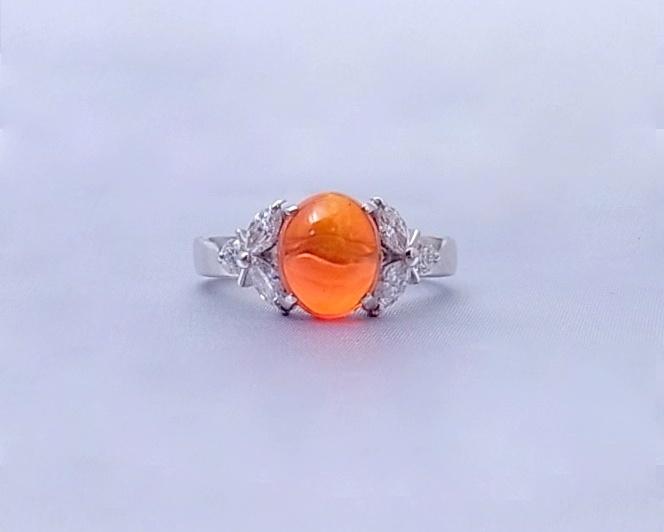 ファイヤーオパール ダイヤモンド リング