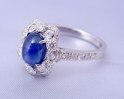 スターサファイア(ブルー) ダイヤモンド リング