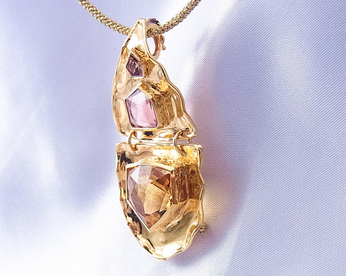 シトリンとピンクトルマリンとブラウンダイヤモンドのペンダント・ブローチ