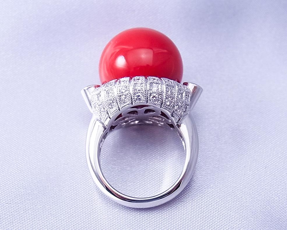 K様よりご注文いただいた珊瑚の指輪作成