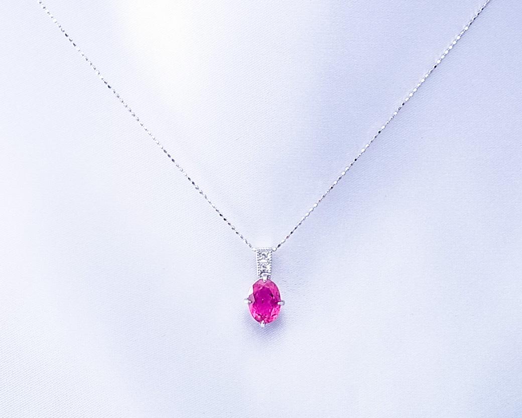 ピンクトルマリンとダイヤモンドのペンダント