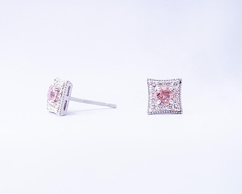 ピンクトルマリンとダイヤモンドのピアス