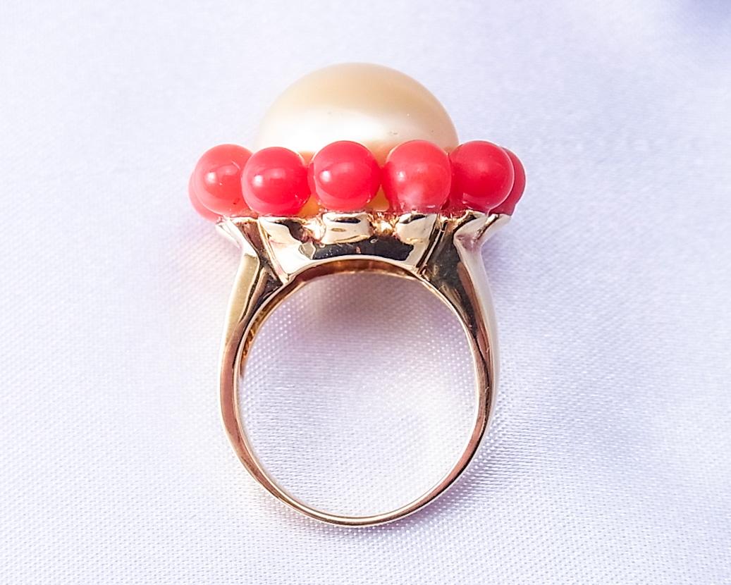 ゴールドパールと赤サンゴの組み合わせが可愛い指輪
