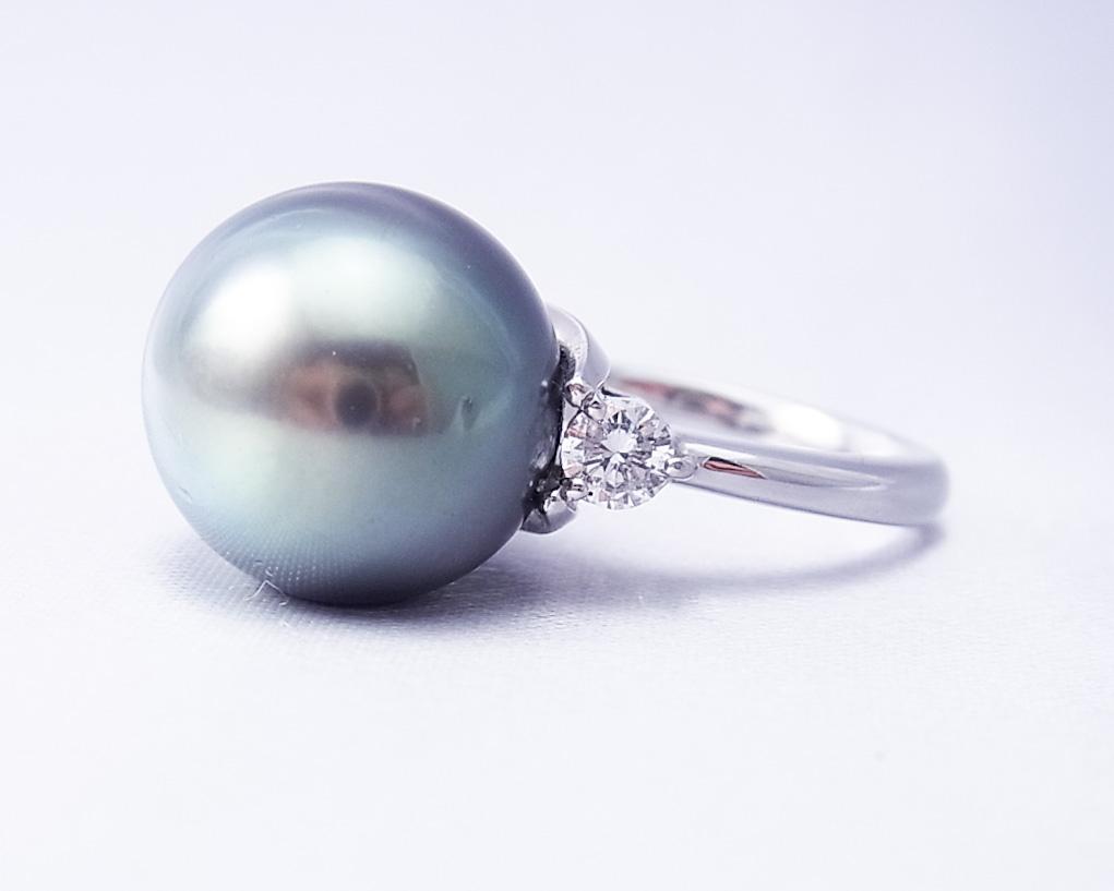 黒い真珠とダイヤモンドの指輪(大)